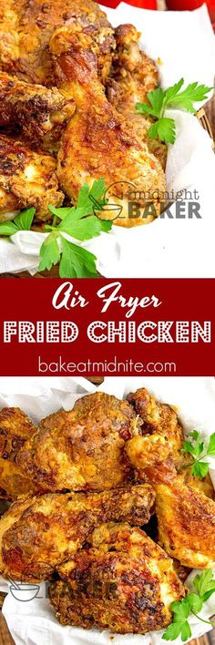 The crispiest fried chicken you'll ever eat. Hardly uses any fat using an air fryer. The crispiest fried chicken you'll ever eat. Hardly uses any fat using an air fryer. Air Fryer Fried Chicken, Air Fried Food, Crispy Fried Chicken, Fried Chicken Recipes, Air Frier Recipes, Keto, Paleo, Great Recipes, Favorite Recipes