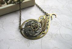 Brass Steampunk Necklace - by BotanicalBird on Etsy