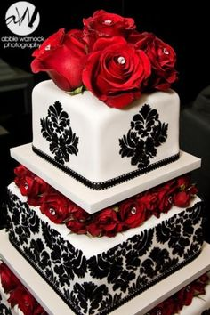 Wedding cake. wedding day details - ideas - black and white - red - cake - roses - damask - fondant - victorian print - photography by Abbie Warnock