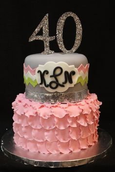 40th birthday cake - chevron and petals - Frosted Bake Shop.