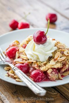 This cherry crumble is like a cherry pie without the fuss. EASY. The crumbly crisp almond topping is a perfect match to those juicy plump cherries.