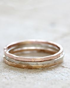 14k solid gold hammered rings - praxis jewelry