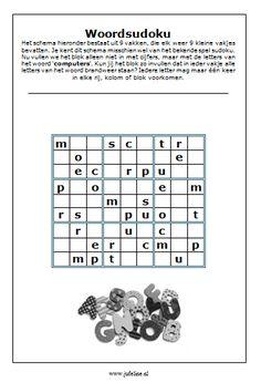 Taalspelletje bovenbouw. Sudoku met het woord 'computer'