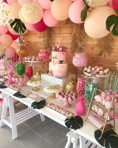 Loving this Flamingos & Pineapples Baby Shower! The dessert table is stunning!- Loving this Flamingos & Pineapples Baby Shower! The dessert table is stunning! S… Loving this Flamingos & Pineapples Baby Shower! Flamingo Party, Flamingo Baby Shower, Flamingo Birthday, Baby Shower Flowers, Baby Shower Table, Shower Party, Baby Shower Parties, Baby Shower Themes, Baby Shower Decorations