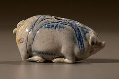anna pottery | Anna Pottery Pig Flask with Rare Map and Size, American, ca 1870-1875 ...