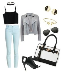 """""""Black white Grey and a pop of blue. Nice outfit to wear for a lunch date."""" by patricia-desire on Polyvore featuring Topshop, Barbour, Chicwish, Mint Velvet, Alepel, Chanel, Bling Jewelry and IMoshion"""