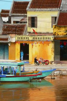 Bikes & Boats- Hoi An by Scott McDougall at Richard Martin Art - Scott McDougall - Lines of Communication