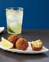 "Salt Cod Croquettes: Known as bolinhos in Portuguese (""little cakes""), these croquettes are Daniel Boulud's take on a classic Brazilian bar food. Crispy on the outside and fluffy on the inside, with plump chunks of salt cod   Recipe on Food & Wine"