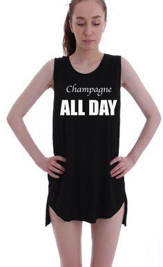 Black Tank top / women's Clothing Champagne Tee / by BlackGems