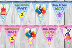 Personalised Twirlywoos Bunting - 20 Flags Banner