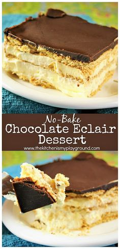 This is a classic! No-bake Chocolate Eclair Icebox Dessert is creamy, delicious, and comforting. And it's ALWAYS a big hit! is a classic! No-bake Chocolate Eclair Icebox Dessert is creamy, delicious, and comforting. And it's ALWAYS a big hit! Brownie Desserts, Oreo Dessert, Mini Desserts, Chocolate Eclair Dessert, Icebox Desserts, Easy No Bake Desserts, Icebox Cake, Holiday Desserts, Easy No Bake Recipes