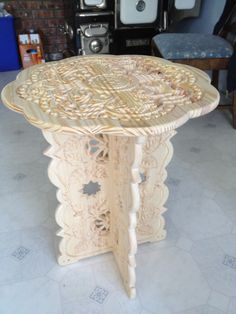 End table (unfinished), made from laminated pine.