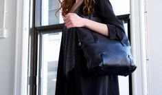 Bonnie tote bag Martin Dust leather bag sac à main cuire black noir minimalist 2 straps unique Montréal