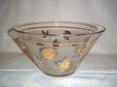 Vintage Mid Century Libbey Glass Golden Foliage Bowl by MysticSpiritShoppe, $10.00