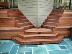 Stair DesignAdd interest with a well-designed staircase. Keep in mind, most building codes require that the steps rise 8 inches per step or less and use 2' by 12' boards for treads. Photo courtesy of Advantage Lumber