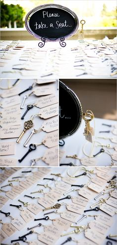 vintage keys for the seating - also check out the rest of the page that is linked.  vintage candies, with muslin bags with bride and groom's names on them