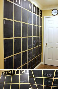 DIY chalkboard wall calendar ideal for the office and busy family www.finditforweddings.com