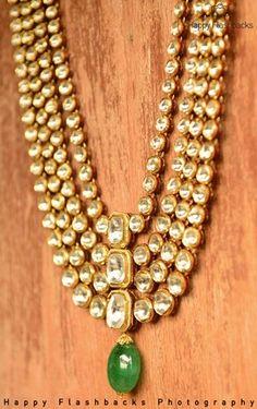 Indian Wedding Jewelry - Polki Kundan 4 Layered Raani Haar with Emerald Drops | WedMeGood #wedmegood #polki #kundan