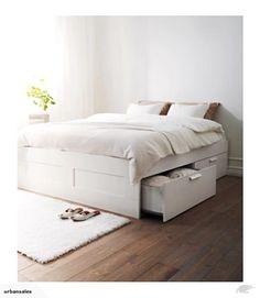 *UrbanSales* IKEA Bed Frame With Storage 158x206cm White, Luröy | Trade Me
