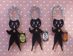 Maneki Neko 3 Lucky Black Cats Chenille by threecatsgraphics, $12.00