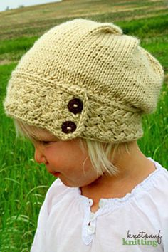 Little Ella Hat is a knitting pattern for a kid's slouch hat! This hat is knit in the round, and is completely seamless! The warm cabled band has beautiful detail. Click through to get the pattern from KnotEnufKnitting on Etsy.