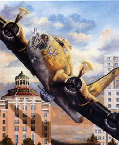 "Col. Bob Morgan flew the B-17 ""Memphis Bell"" between the Asheville City Hall and the Buncombe County Court House departing his home town during the Bell's National War Bond Tour, 1943.  The famous buildings that define the city skyline are about 74 feet apart and the B-17 has a 103 foot wing span."