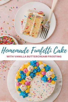 A fluffy, moist and colorful Funfetti Cake is speckled with rainbow sprinkles, slathered with vanilla buttercream and finished with a special decorative touch. It's the best confetti cake recipe made from scratch for birthdays, special celebrations or just because. #funfetti #funfetticake #funfetticakerecipe #homemadefunfetticake #funfetticakehomemade #vanillabuttercream #birthdaycakeideas Fun Fetti Cake Recipe, Funfetti Cake Homemade, Confetti Cake Recipes, Vanilla Buttercream Frosting, Rainbow Sprinkles, Food To Make, Birthdays, Birthday Cake, Baking