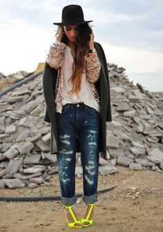 sequin overcoat blouse boyfriend jeans and funky pumps inspo