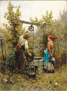 """The Well,"" 1880 -- by Daniel Ridgway Knight (American, Brooklyn Museum. Art Painting Gallery, Painting & Drawing, Art Ancien, Knight Art, Victorian Art, Couple Art, Fine Art, Gravure, Oeuvre D'art"