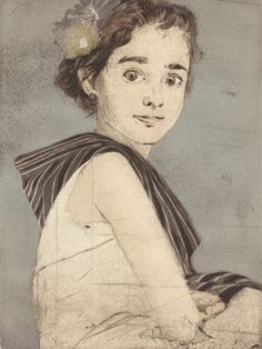 """Ellen Heck. """"Alana as Frida""""  Woodcut and drypoint on paper"""