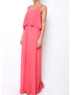 Maxi robe longue empire rose voile mousseline.