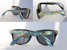 Hand painted sunglasses, featuring one of a kind design. Sunglasses feature UV protection and hand painted finish.