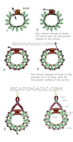 Free pattern for earrings Sanremo with tila and superduo U need: seed beads 11/0 seed beads 15/0