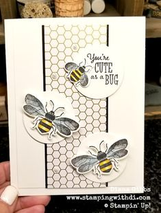 Honey Bee - So Cute! (Stamping With Di) I have been busy making swap cards and this was one of them. Using the new set Honey Bee and the cute Golden Honey Designer Series Paper that you can earn during Sale-A-Bration, that starts on January Stampin Up France, Honey Bee Stamps, Bee Cards, Stamping Up Cards, Bee Happy, Animal Cards, Card Sketches, Paper Cards, Kids Cards