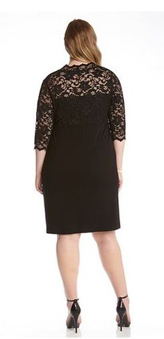 BLACK PLUS SIZE LBD CONTRAST SCALLOP LACE PARTY DRESS Plus Size Fashion Sexy V Neck Black Lace Dress #Sexy #Black_Lace #Karen_Kane #LBD #Party #Dress #Plus_Size #Holiday #Fashion #KarenKane