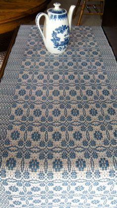 Handwoven Table Runner Colonial Blue by ThistleRoseWeaving on Etsy, $75.00