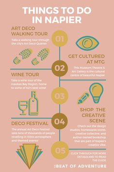 So many fun things to do in Napier, New Zealand's insanely creative city. Take an art deco walking tour. Explore a vibrant creative scene. Visit New Zealand, New Zealand Travel, Napier New Zealand, North Island New Zealand, State Of Arizona, Wine Art, Cool Cafe, Walking Tour, Stargazing