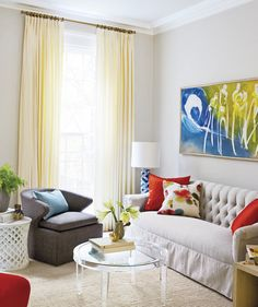 """f you have old and heavy drapes, toss them for something more modern and breezy. """"Simple, functional window coverings on opened windows allow a space to breathe and appear visually larger and more open,"""" says interior designer Kerrie Kelly."""