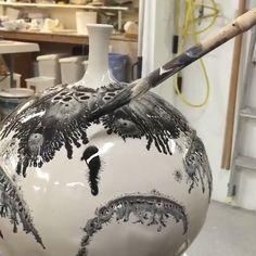 Pottery glazing using mocha diffusion with @brothersware_pottery.  www.UpFade.com