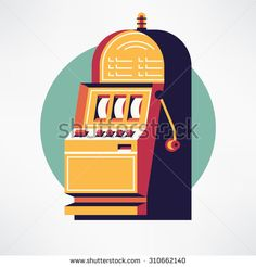 Cool vector flat design one armed bandit slot machine gambling casino item web icon. Ideal for gambling themed graphic and web design - stock vector Casino Royale, Mafia, Flat Design, Web Design, Icon Design, Paper Cutting, Las Vegas, Video Vintage, Slot Machine Cake