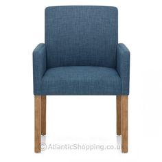 Gino Oak Chair Blue Fabric