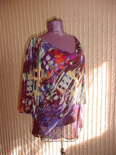 Evan Picone Top Shirt w Draped Neck 3/4 Sleeve 8 Petite NWT  NEW Multi-Color #EvanPicone #Blouse #Career