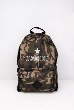 Buy Personalised Camouflage Backpack by Loveabode from the Next UK online shop Camouflage Backpack, Herschel Heritage Backpack, Next Uk, Uk Online, Backpacks, Pocket, Zip, Shoulder Straps, Stuff To Buy