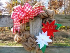 Burlap Christmas wreath with poinsettias by LoversLaneCrafts, $40.00