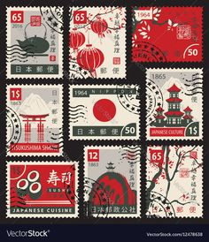 Stamps on the theme of Japan vector image on VectorStock Postage Stamp Design, Postage Stamps, Journal Stickers, Planner Stickers, Cute Stickers, Tumblr Stickers, Free Printable Stickers, Gig Poster, Aesthetic Stickers