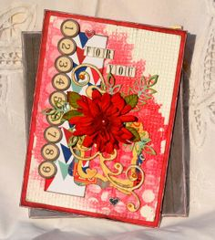 Denise van Deventer created this fun mixed media card using several techniques! Love the colors. #BoBunny, #scrapbookcards @strawbspatch