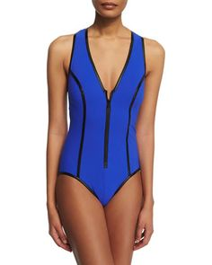 Faux+Leather-Trim+Zip-Front+One-Piece+Swimsuit+by+Karla+Colletto+at+Neiman+Marcus.