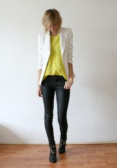 white blazer, yellow top, black pants