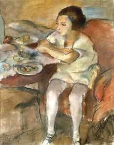 Jules Pascin, Breakfast. 1923, Oil on canvas, Musée des Beaux-Arts Liège. It was confiscated and sold by the Nazi regime at the Galerie Fischer auction in Switzerland in 1939.