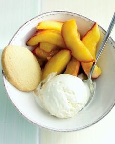 Sauteed Peaches & Ice Cream- Delicious. Pour the sauce from the peaches over the ice cream.